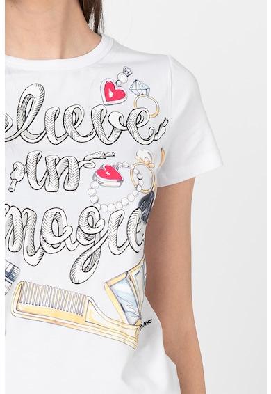 Love Moschino Tricou cu imprimeu grafic si decolteu la baza gatului Femei