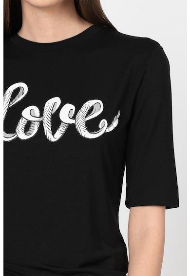 Love Moschino Tricou din amestec de modal, cu imprimeu text Femei