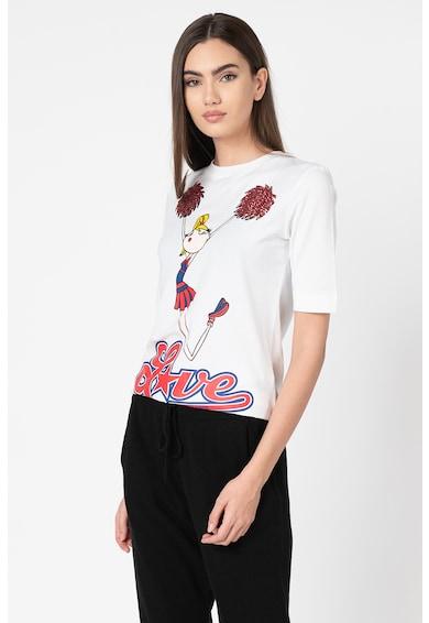 Love Moschino Tricou cu decolteu la baza gatului si imprimeu grafic Femei