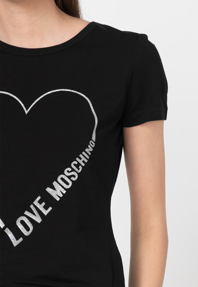 Love Moschino Tricou cu imprimeu logo stralucitor Femei