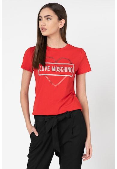 Love Moschino Tricou cu logo stralucitor Femei