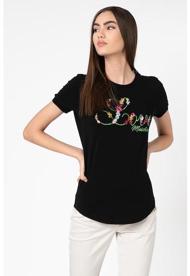 Love Moschino Tricou cu broderie logo si motive florale Femei