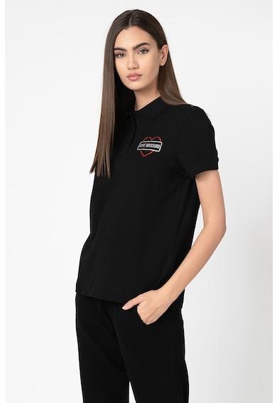 Love Moschino Tricou polo din pique cu imprimeu stralucitor Femei