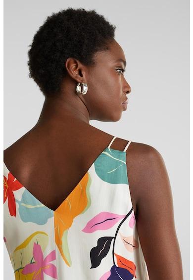 Esprit Bluza fara maneci, cu decolteu in V si model floral Femei
