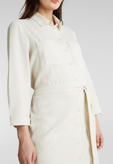 Esprit Рокля тип риза с лен и връзка Жени