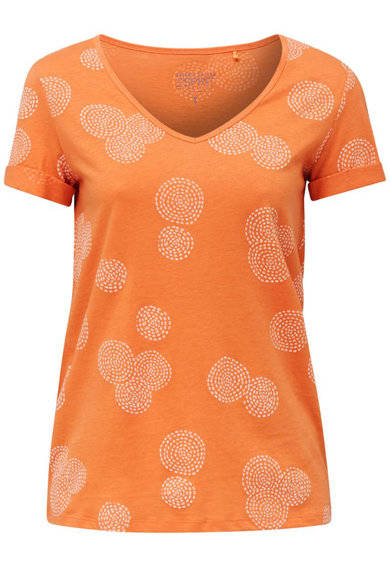 Esprit Tricou din amestec de bumbac organic si in, cu imprimeu geometric Femei