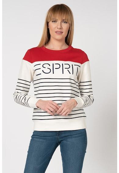Esprit Bluza sport cu model in dungi si broderie logo Femei