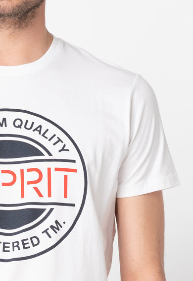 Esprit Tricou din bumbac organic, cu decolteu la baza gatului si imprimeu logo Barbati
