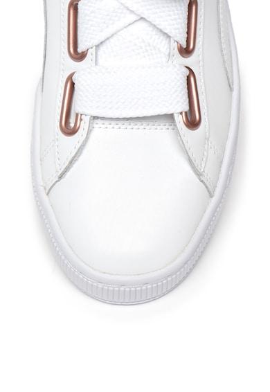 Puma Pantofi sport de piele, cu sireturi late Basket Heart Femei