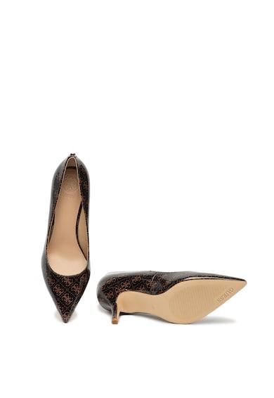 Guess Pantofi din piele ecologica, cu varf ascutit si model monograma Femei