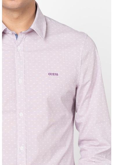 GUESS JEANS Раирана риза с щампа Мъже