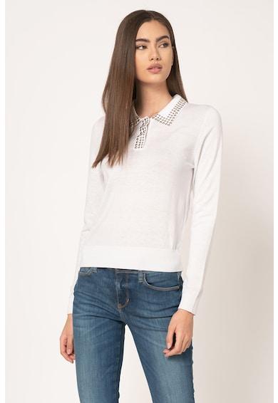 GUESS JEANS Pulover tricotat fin din amestec de lana si aplicatii Femei