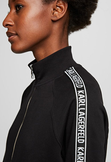 Karl Lagerfeld Bluza sport cu fermoar si detaliu logo pe maneci Femei
