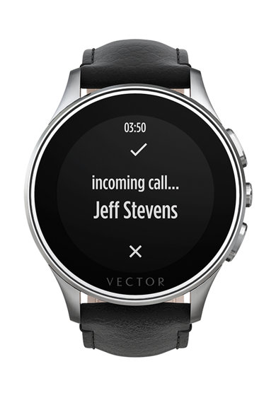 Vector Часовник Smartwatch  Luna, Кожена каишка, Сребрист/Черен Жени