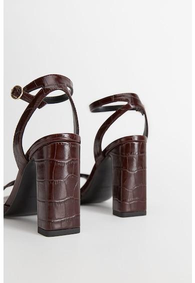 Mango Sandale de piele ecologica cu bareta pe glezna si model piele de crocodil Heaven Femei