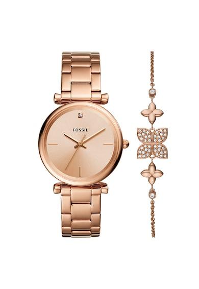Fossil Set de ceas analog si bratara, decorat cu un diamant Femei