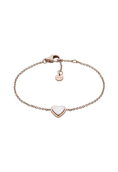 Skagen Bratara cu placaj de aur roz si talisman mother of pearl in forma de inima Femei