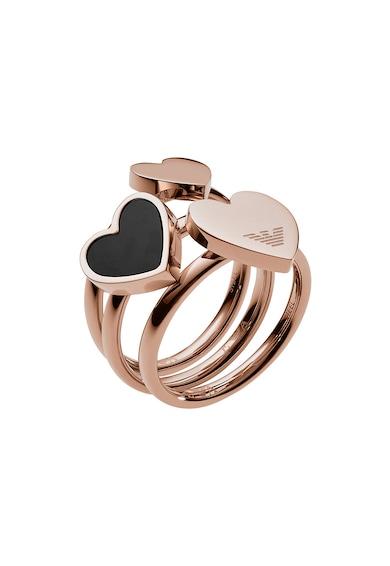 Emporio Armani Inel cu placaj de aur rose cu talismane in forma de inima Femei
