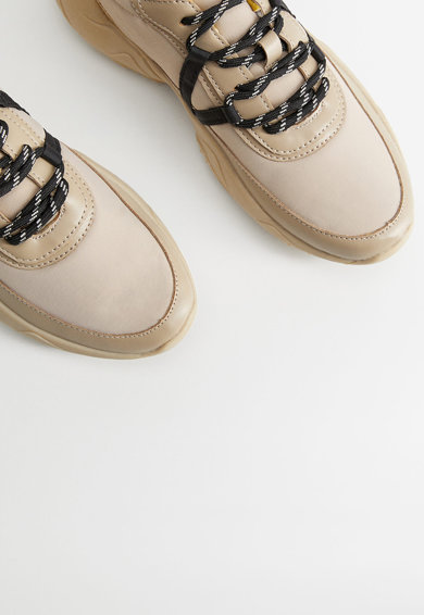 VIOLETA BY MANGO Pantofi sport cu garnituri de piele ecologica Jump Femei