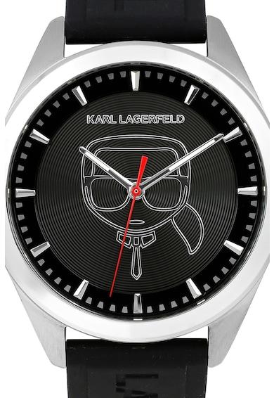 Karl Lagerfeld Ceas rotund cu o curea din silicon Barbati