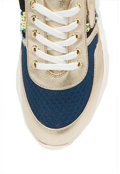 Love Moschino Pantofi sport de piele cu insertii de plasa si paiete Femei