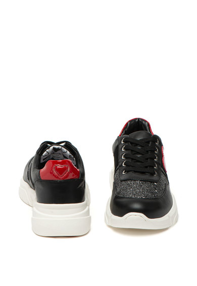 Love Moschino Pantofi sport wedge cu insertii de piele si stralucitoare Femei