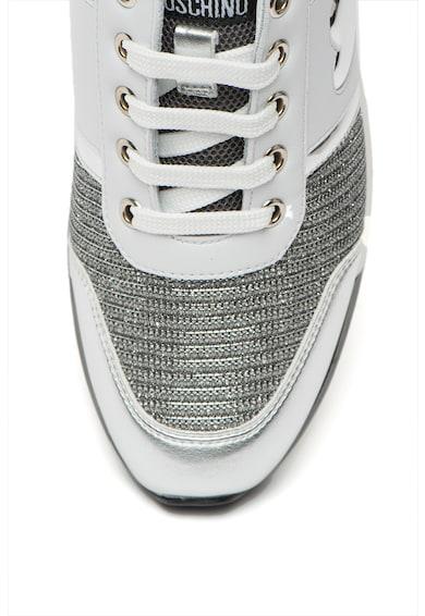Love Moschino Pantofi sport de piele ecologica cu aspect metalizat Femei