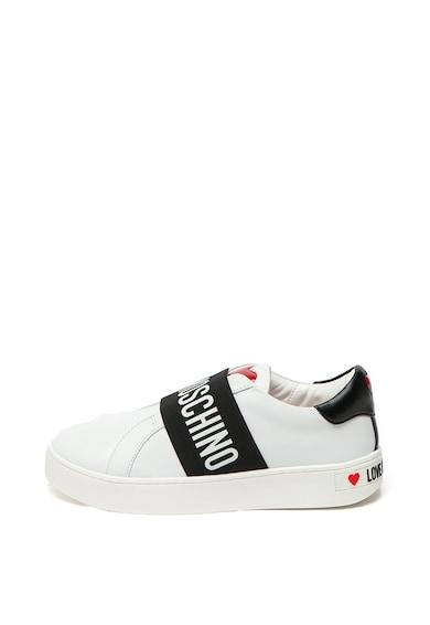 Love Moschino Pantofi sport slip-on de piele, cu imprimeu logo Femei