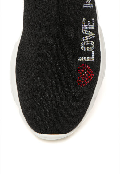 Love Moschino Pantofi sport slip-on tricotati, cu logo din strasuri Femei