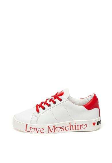 Love Moschino Pantofi sport de piele, cu logo in lateral Femei