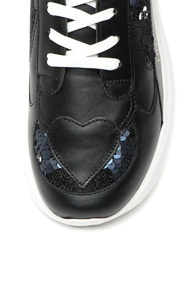 Love Moschino Pantofi sport din piele cu aplicatii din paiete Femei