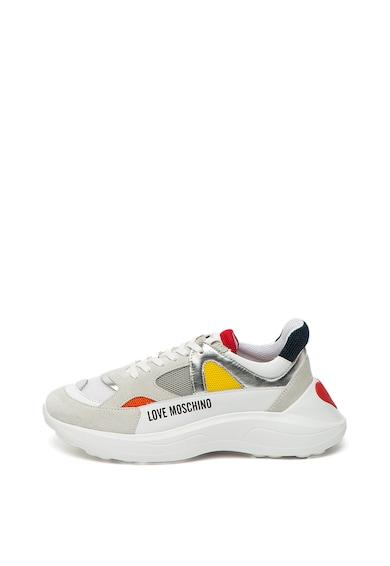 Love Moschino Pantofi sport cu talpa wedge si insertii din piele Femei
