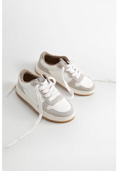 Mango Pantofi sport de piele ecologica, cu insertii de piele intoarsa Journal Fete