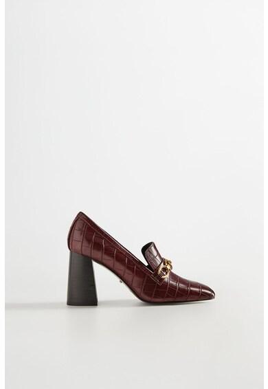 VIOLETA BY MANGO Pantofi de piele ecologica, cu toc masiv Femei