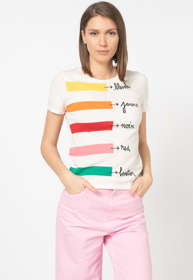 United Colors of Benetton Tricou tricotat fin, cu imprimeu text Femei