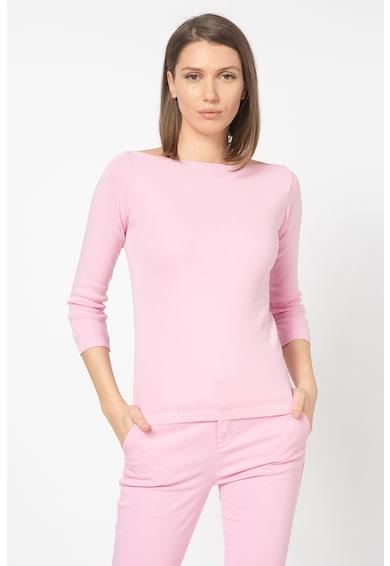 United Colors of Benetton Pulover din tricot fin cu decolteu barcuta Femei