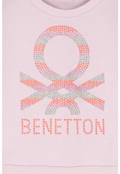 United Colors of Benetton Bluza sport din bumbac organic, cu imprimeu logo Fete