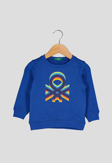 United Colors of Benetton Bluza sport din bumbac organic, cu imprimeu logo Baieti