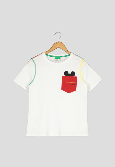 United Colors of Benetton Tricou din bumbac organic, cu imprimeu text Femei