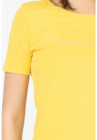 United Colors of Benetton Tricou cu imprimeu logo si insertii stralucitoare Femei