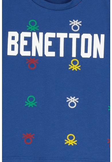 United Colors of Benetton Tricou cu decolteu la baza gatului si imprimeu logo Baieti