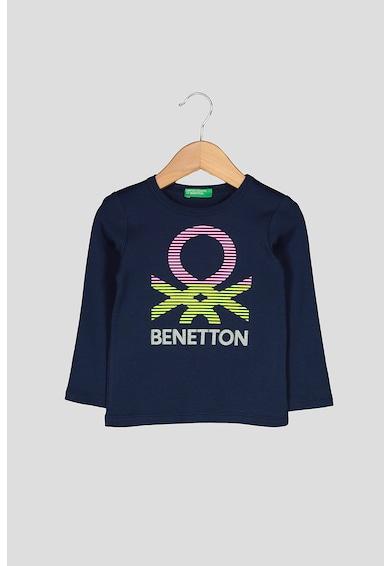 United Colors of Benetton Bluza din bumbac organic, cu imprimeu logo Fete