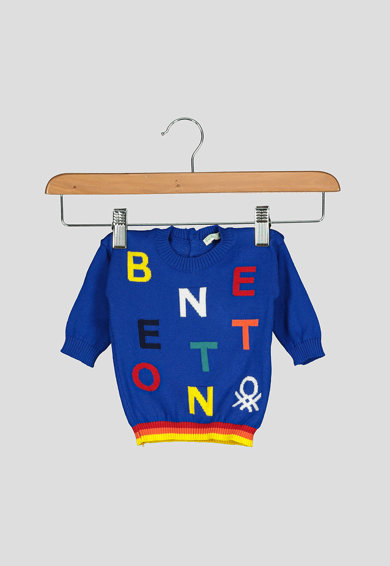United Colors of Benetton Pulover cu model colorblock si logo Baieti