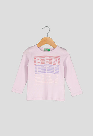 United Colors of Benetton Bluza din bumbac organic, cu imprimeu logo Fete
