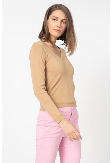 United Colors of Benetton Pulover din tricot fin cu decolteu in V Femei