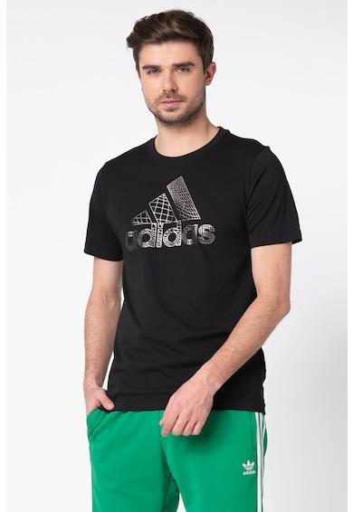 Adidas PERFORMANCE Adidas, Tricou cu decolteu la baza gatului si aplicatie logo metalizata Barbati