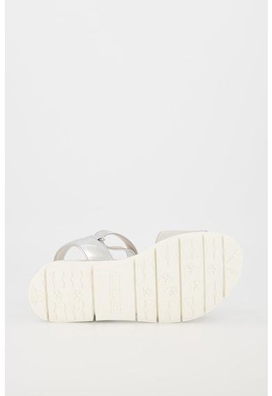 Lumberjack Sandale de piele si piele ecologica, cu aspect metalizat Evette Femei