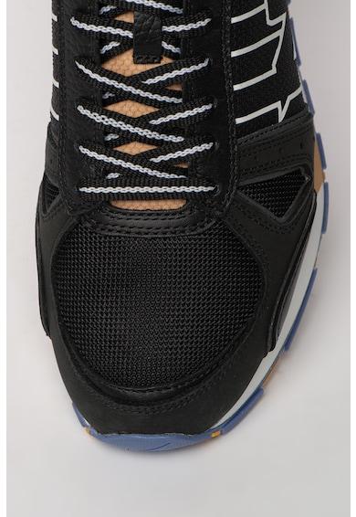 Emporio Armani Pantofi sport in dungi cu insertii de piele nabuc Barbati