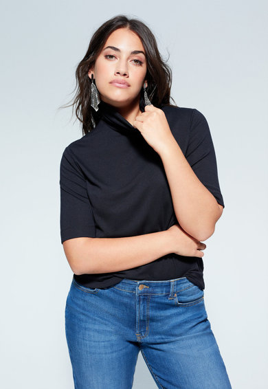 VIOLETA BY MANGO Tricou din tricot fin cu guler inalt Femei