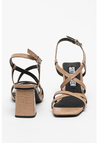 sixtyseven Sandale de piele ecologica cu aspect de piele de crocodil Woodit Femei